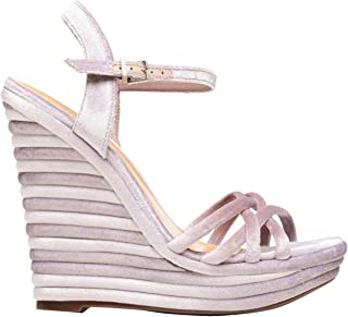 8f78c00481b SCHUTZ Donati Rose Pink Velvet Ribbed Platofrm Wedge Sandal Open Toe Ankle  Strap