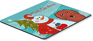 Caroline's Treasures BB1834MP Snowman with Longhair Red Dachshund Mouse Pad, Hot Pad or Trivet, Large, Multicolor