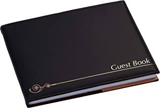 Paper Junkie 72-Sheet Guest Book for Wedding, Memorial Service, and Parties, Black with Gold Foil Print, 8 x 6.5 x 0.75 Inches