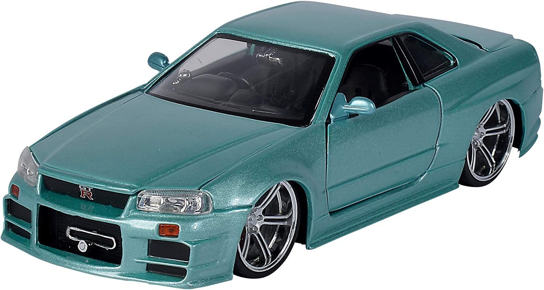 Jada Toys 253203066 Fast & Furious Brian 's Nissan Skyline, 2002, GTR (R34), Puerta abatible, Maletero y capó, Coche de Juguete, Escala 1:24, Color Plateado