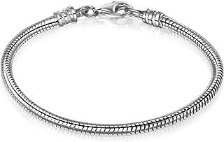 925 Sterling Silver Snake Chain Bracelet for European Bracelets Charms Bead
