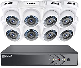ANNKE CCTV Camera Systems 8CH 2MP 5-in-1 Security DVR and (8) 2.0 Megapixel 1080P CCTV Cameras with Weather Proof,Email Alert with Snapshots, NO HDD