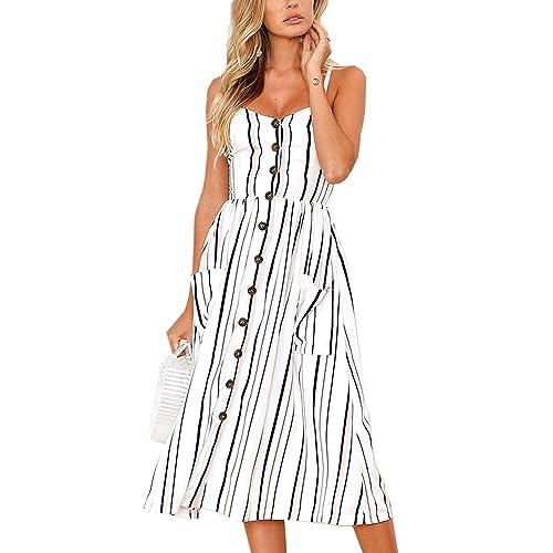 3df242d8255 Poptem Women s Midi Dresses V-Neck Bohemian Floral Spaghetti Strap Summer  Beach Sundresses
