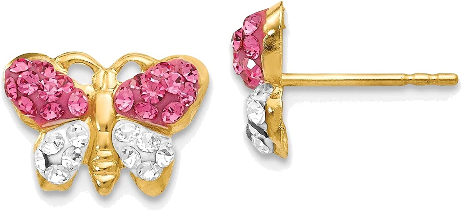 Pink/White Crystal Butterfly Post Earrings in 14K Yellow Gold