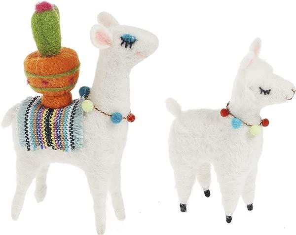 Set Of Two Small Felt Alpaca Llama Decor Accents 6 Tall