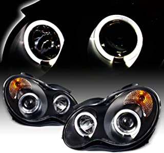 For 01-07 Benz W203 C-Class 4-Doors Sedan Black Bezel LED [Dual Halo] Projector Halogen Type Projector Headlights