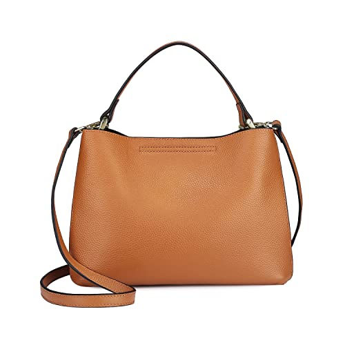 27e10d6ea6f0 S-ZONE Women s Genuine Leather Small Tote Handbag Purse Crossbody Bag with  Removable Pouch