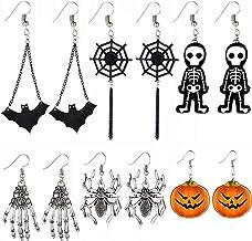6 Pairs Halloween Earrings Drop Dangle Earrings Pumpkin Cobweb Spider Earrings for Women Girls Supplies