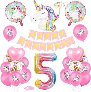 Unicorn 5 Anniversaire Fille Ballon, Unicorn Ballon 5, Ballons Anniversaire 5 an Unicorn, Ballon 5 Ans Fille, Unicorn 5 Ba...