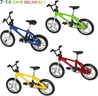 HuoBi Mini Bike Finger Bike Excellent Functional Miniature Metal Toys Mini Extreme Sports Finger Bicycle Cool Boy Toy Creative Game Toy Set Collections Cake Decoration [4 Pack]