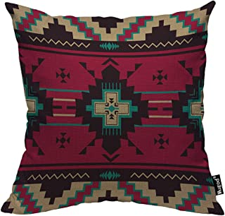 Mugod Ethnic Pattern Pillow Cover Native Southwest American Indian Aztec Navajo Print Decorative Throw Pillow Cases Cotton Linen Indoor Square Cushion Covers 18x18 Inch for Home Sofa Couch