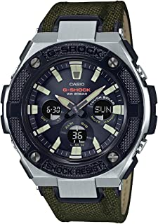 GSHOCK Men's Solar Powered Wrist Watch analog-digital Display and Leather Strap, GSTS330AC-3A