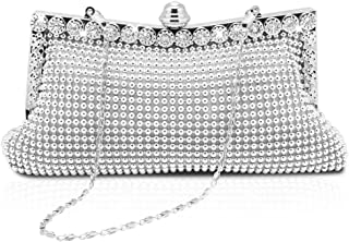 a7cecea3715 Homgaty Ladies Girls Silver Sparkly Diamante Crystal Satin Clutch Bag  Evening Wedding Handbag Purse Bag