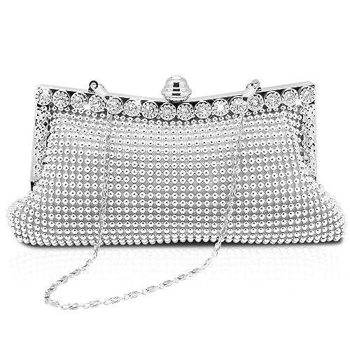 f8f0668355 Homgaty Ladies Girls Silver Sparkly Diamante Crystal Satin Clutch Bag  Evening Wedding Handbag Purse Bag