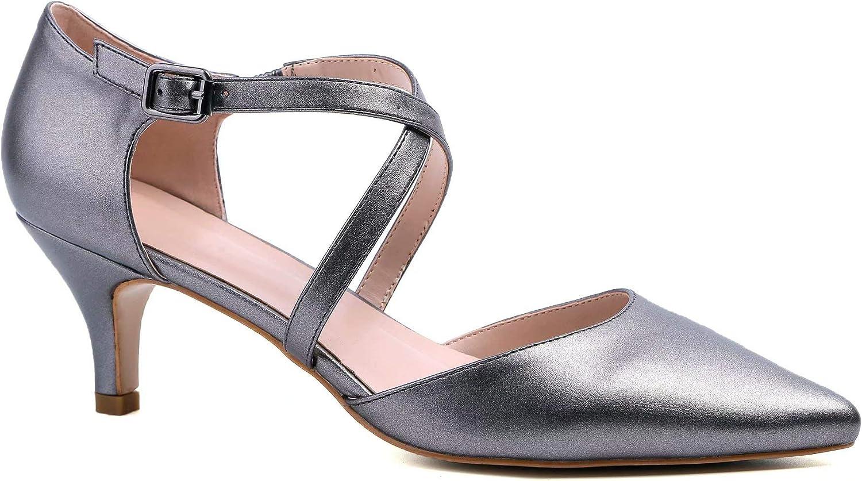 Greatonu Women Low Kitten Heels Closed Toe Wedding Party Dress Pumps Shoes