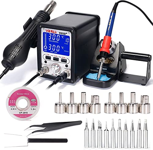high quality YIHUA 995D+ Professional Soldering & Rework Station discount bundle with 2021 #2300 Hot Air Nozzles with Iron holder, Soldering Cleaning Kit and Accessories (27 Items) sale