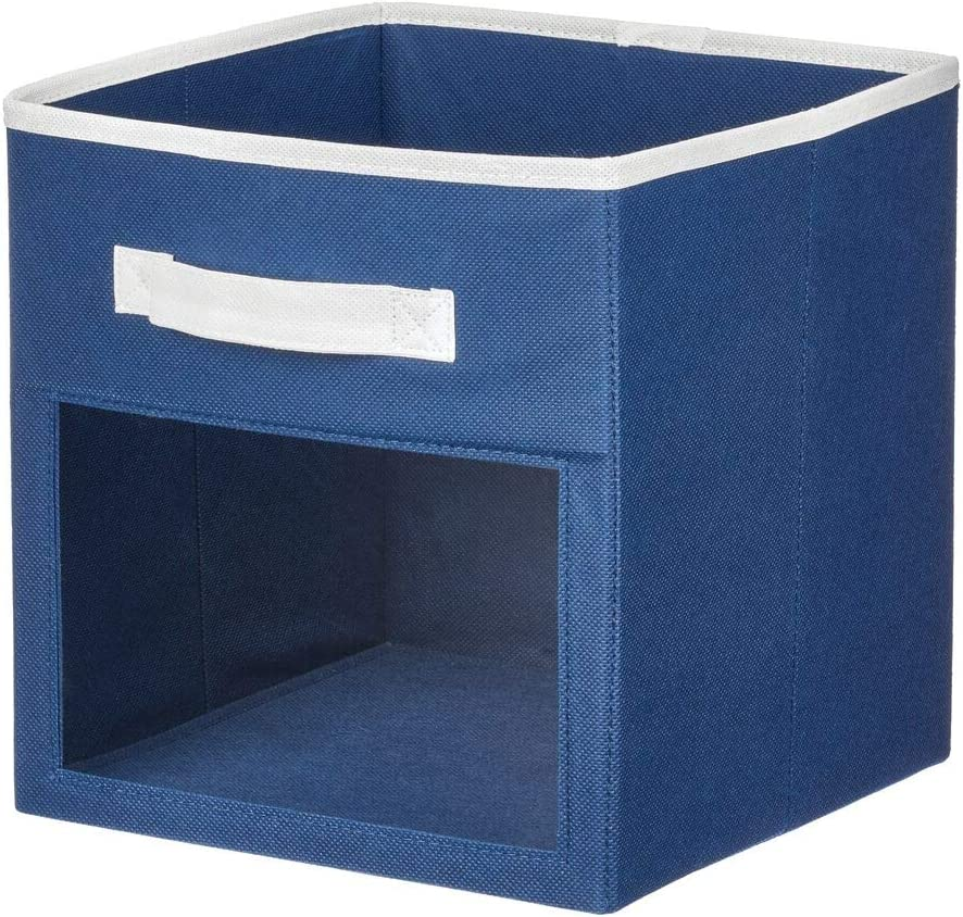 Furniture Unit Navy Blue//White Nursery Handle for Child//Kids Room 11 inches High 2 Pack mDesign Soft Fabric Closet Storage Organizer Cube Bin Box with Easy-View Front Window Playroom Shelf