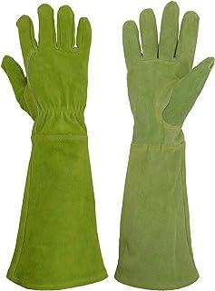 دستکش های باغبانی چرمی خانمها HANDLANDY ، اثبات خار خار دستی دستکش های باغبانی سنگین ، دستکش های هرس گل رز زنان با آرنج (متوسط ، سبز)