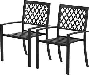 PIAOMTIEE 2 Piece Patio Wrought Iron Chair Outdoor Dining Set with Armrest, Supports 300 LBS, Suitable for Garden, Backyard, Balcony, Bistro