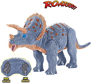 Liberty Imports Dino Planet Remote Control RC Walking Dinosaur Toy with Shaking Head, Light Up Eyes and Sounds (Triceratops)