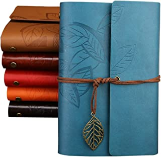 WSLCN Journal Diary Vintage Leaf PU Leather Spiral Blank String Daily Notepad Unlined Paper Retro Pendants Classic Embosse...