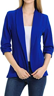 MINEFREE Women's 3/4 Ruched Sleeve Lightweight Work Office Blazer Jacket (S-3XL)
