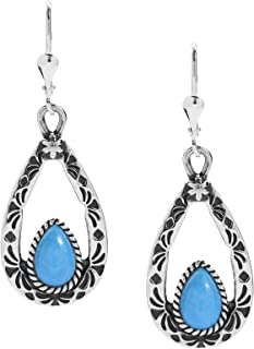 Sterling Silver Gemstone Teardrop Dangle Earrings Choice of 4 Different Colors