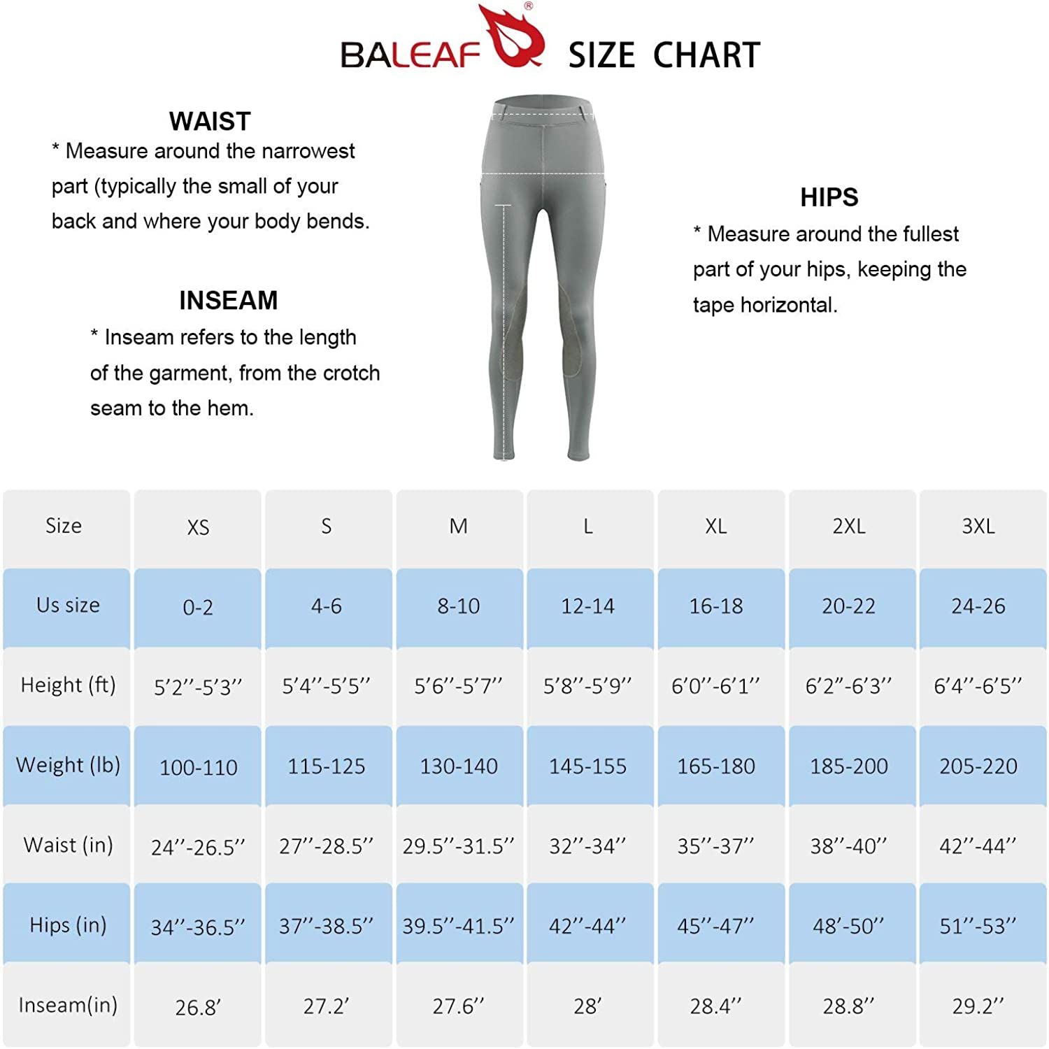 BALEAF Womens Riding Tights Knee-Patch Breeches Horse Pants Equestrian Active Schooling Pocket UPF50+