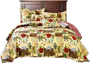 Tache Home Fashion Festive The Holly and The Ivy Poinsettia Patchwork Quilted Coverlet Bedspread Set - Bright Vibrant Multi Colorful Beige Red Green Floral Print - Queen - 3-Pieces