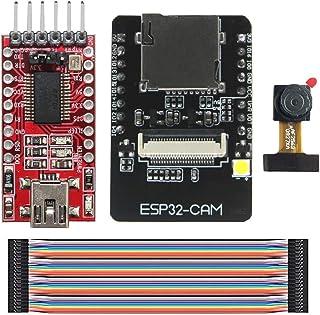 KeeYees ESP32-CAM WiFi Bluetooth モジュール 4M PSRAM デュアルコア 32ビット 開発ボード OV2640カメラモジュール付き + FTDI FT232RL USB-TTLシリアル変換アダプターモジュール...