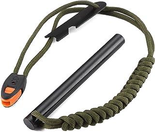 FOSTAR 5 Inch Emergency Weatherproof Flint Ferrocerium Rod Fire Starter, with Whistle, Steel Multitool Striker Paracord La...
