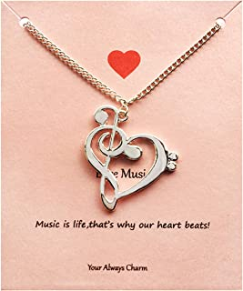 Heart Music Necklace,Gifts for Music Teacher,Musician,Music Lover