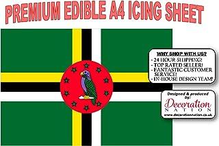 Decoración comestible para tarta con diseño de la bandera de Dominica, tamaño A4