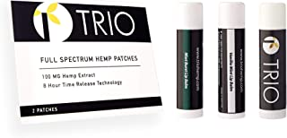 Hemp Oil Topical Pain Patch Kit - Zero THC - Ideal for Pain Relief, Muscle Pain, Stress, Anxiety, Better Sleep - 2 Patches x 100mg Each (200mg Total) + 3 Lip Balms (Cherry, Vanilla Mint, Mint Burst)