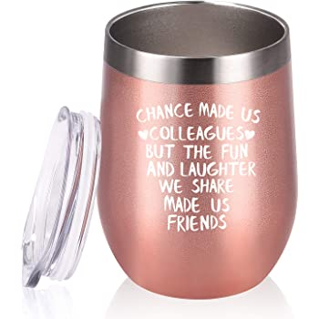 Amazon Com Coworker Gifts For Women Chance Made Us Colleagues Wine Tumbler Coworker Funny Going Away Leaving Farewell Thank You Birthday Christmas Gifts For Coworkers Colleague Boss 12 Oz Rose Gold Wine Glasses