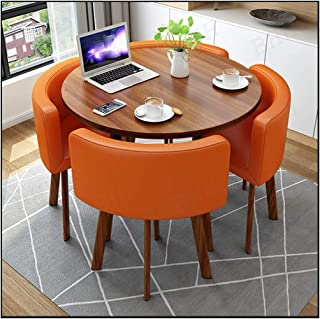 Negotiation Table and Chair Combination, Kitchen Small Furniture Sets Hotel Office Seat Metal Bracket Leather Sofa Chair Fast-Food Shop Balcony Office Kitchen Dining Room Cafe Living Room Home