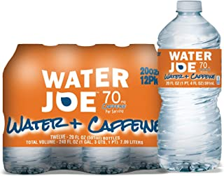 Water Joe Caffeinated Water (12 Pack), 20 Oz Bottles with 70mg of Caffeine | Sugar Free Substitute to Coffee, Soda, and En...