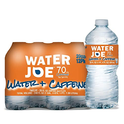 Water Joe Caffeinated Water (12 Pack), 20 Oz Bottles with 70mg of Caffeine | Sugar Free Substitute to Coffee, Soda, and Energy Drinks