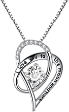 Forfamilyltd Sterling Silver I Love You to The Moon and Back Love Heart Pendant Necklace with Love Card