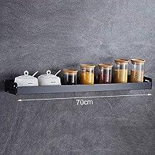 Black Wall-Mounted Spice Rack, Space Aluminum Kitchen Shelf, Seasoning Storage Rack for Kitchen, Storage