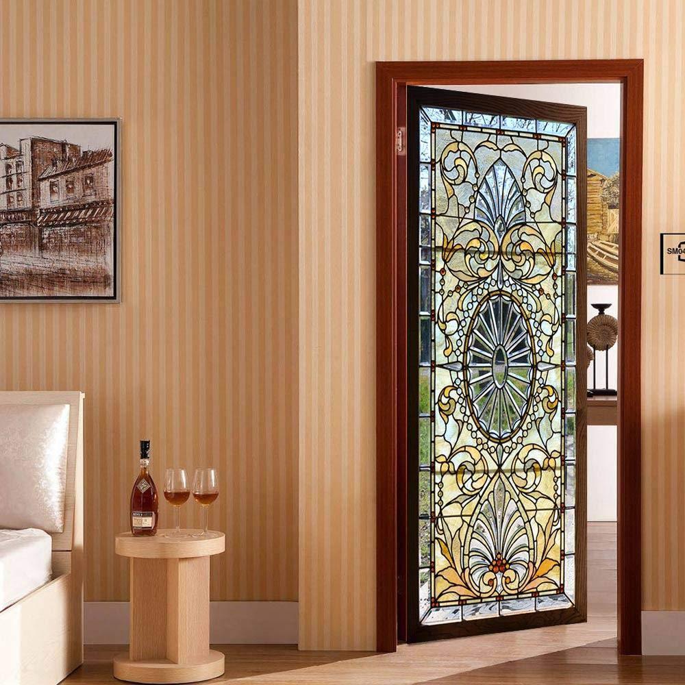 Afashiony 3D Pegatinas Puertas Autoadhesivo Removible Etiqueta De La Puerta De Pvc Vinilo Photo Wallpape Decoración Del Hogar Accesorios Puerta De Cristal Transparente Horizontal- 37.4