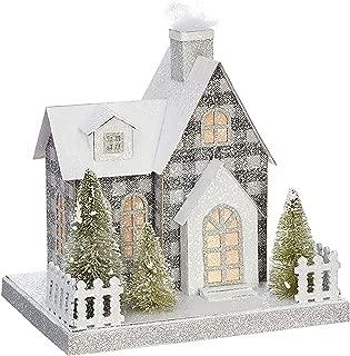 9-Inch Elegant Lighted Winter Wonderland Christmas House – Tabletop Holiday Decoration