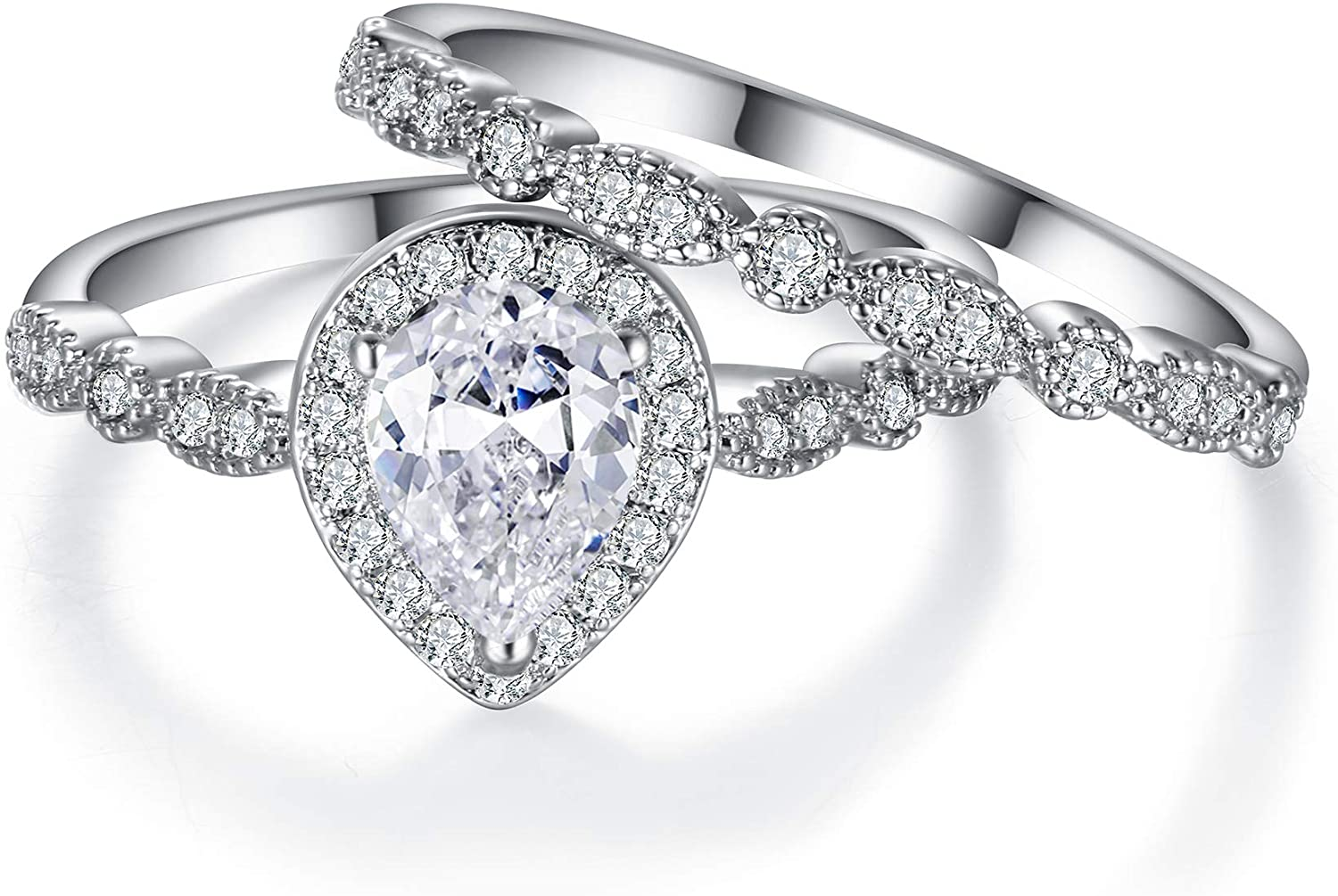 EVER FAITH Full Gorgeous Cubic Zirconia Bridal Prom Engagement Pear Shaped Teardrop Ring Set