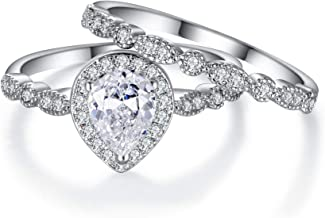 Custom Pear shaped Engagement style ring made in Sterling silver with Cubic Zirconia size 9/& 34