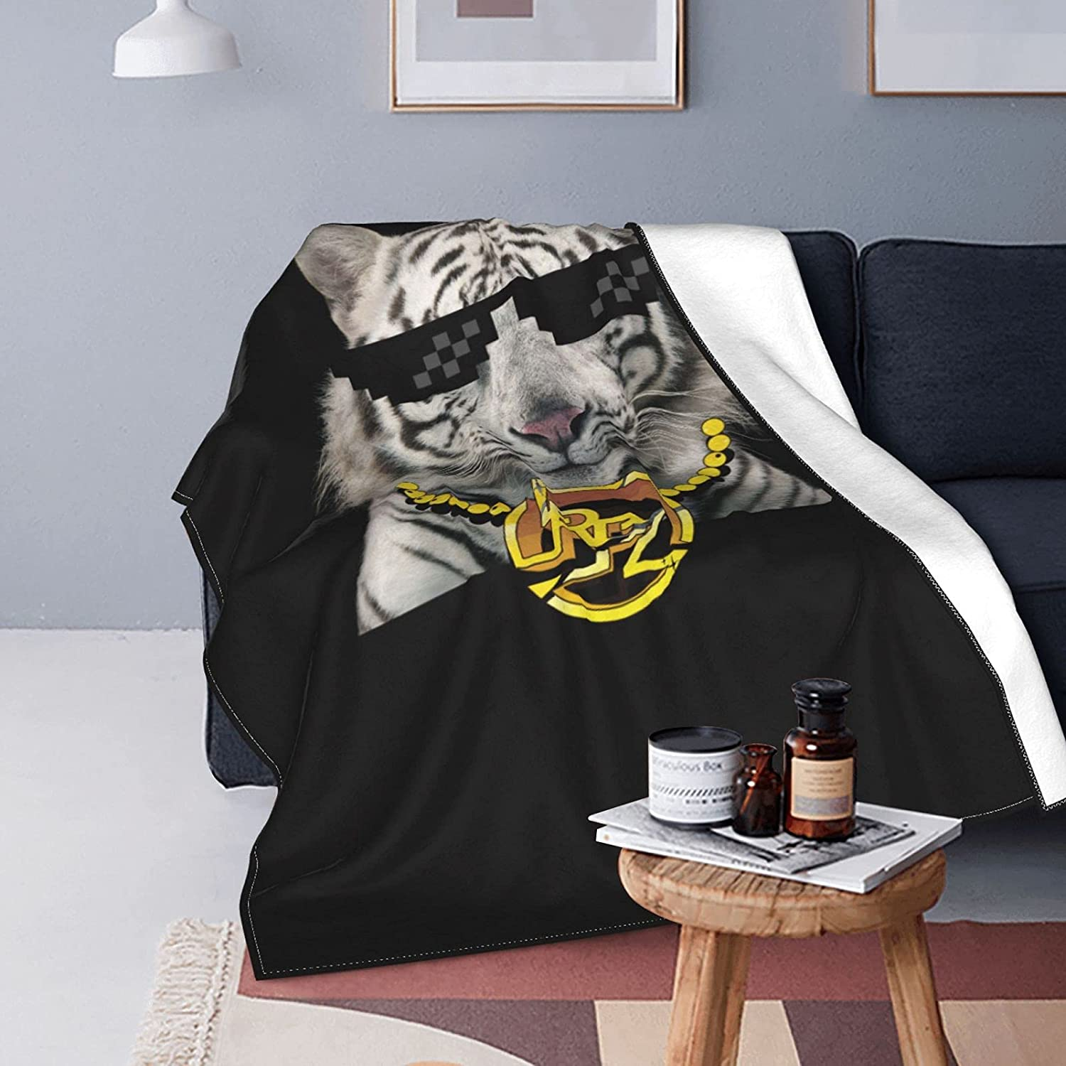 Funny White Tiger Bengal Wide Flannel cheap Los Angeles Mall Double-Sided Air-Condition