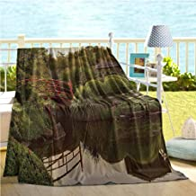 Japanese Decor Home Decor,Peaceful Garden in Twilight with Reflections in The Water Red Bridge On Pond SunGreen Yellow,Quilt Full Size 60