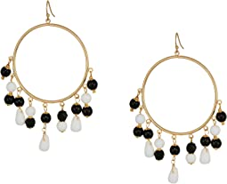 "3"" Gold Fishhook Hoop Earrings with Black and White Beaded Drops"