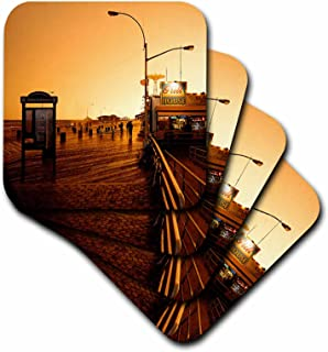 3dRose LLC Coney Island Boardwalk Ceramic Tile Coaster, Set of 4