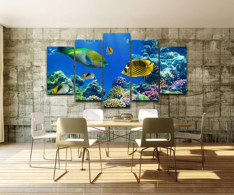 buen precio Kshvc Marco Pintura Conjunta 5Cuadros Modulares para para para Sala De Estar Arte De La Parojo Pintura De La Lona Decoración 5 Unidades Marine Tropical Fishs HD Cartel Impreso-A  mejor oferta