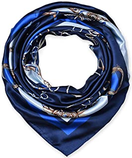 "100% Polyester Silk Feeling 35"" Kerchief Neck Scarf for Women Chains Navy by corciova"